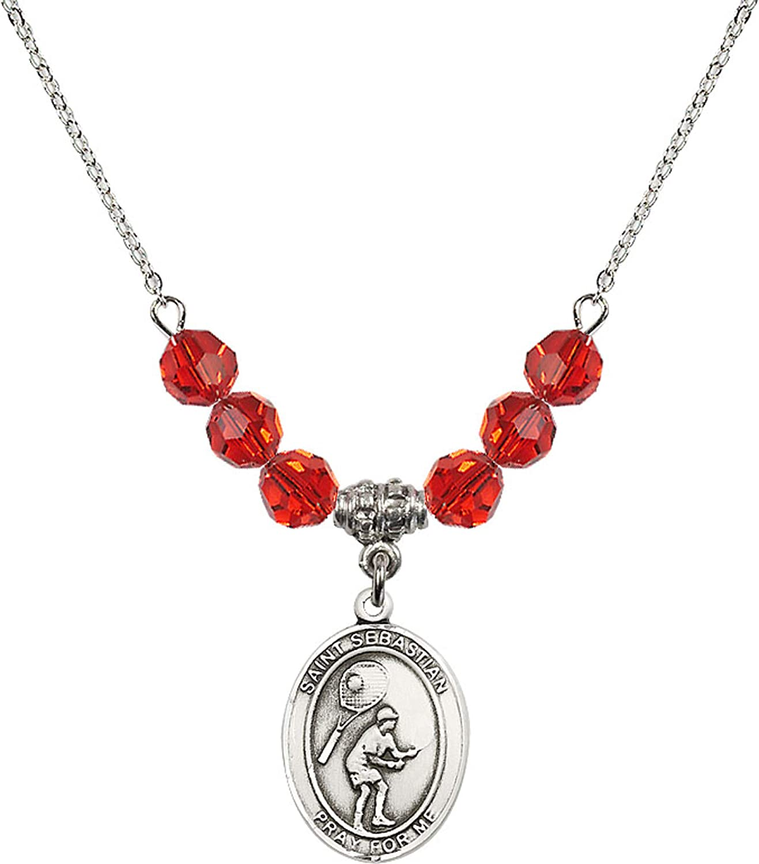 Bonyak Jewelry 18 Inch Rhodium Plated Necklace w// 6mm Red July Birth Month Stone Beads and Saint Sebastian//Tennis Charm