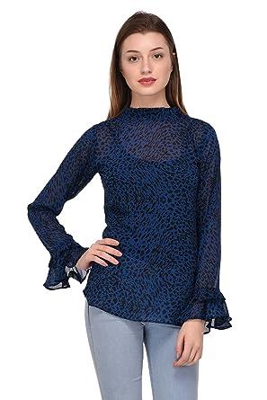 681cf2075a81 Trendif Women s Blue Leopard Print Faux Georgette Top (3267)  Amazon.in   Clothing   Accessories