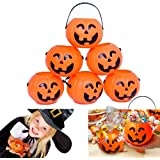 Dazzling Toys Pumpkin Candy Holder 12 Mini Trick-or-treat Halloween Candy Bucket