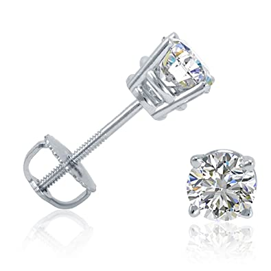 30215a665bc Image Unavailable. Image not available for. Color  14K White Gold HIJ  SI1-SI2 Genuine Diamond Baby Tiny Earrings Stud 0.08 Ct Round