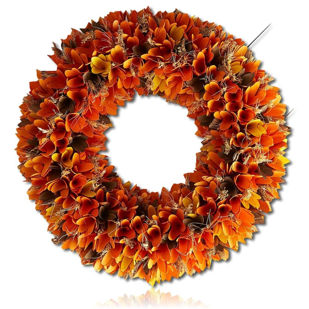 Custom & Unique (20'' Inches) 1 Single Mid-Size Decorative Holiday Wreath for Door, Made of Poplar & Polystyrene Foam w/ Bright Festive Flower & Leave Shaped Wood Shaving Style (Orange, Yellow & Brown)