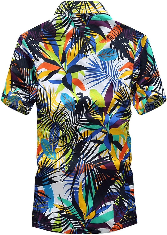 Mens Hawaiian Shirt Male Casual Camisa Masculina Printed Beach Shirts Short Sleeve,Asian Size3,M