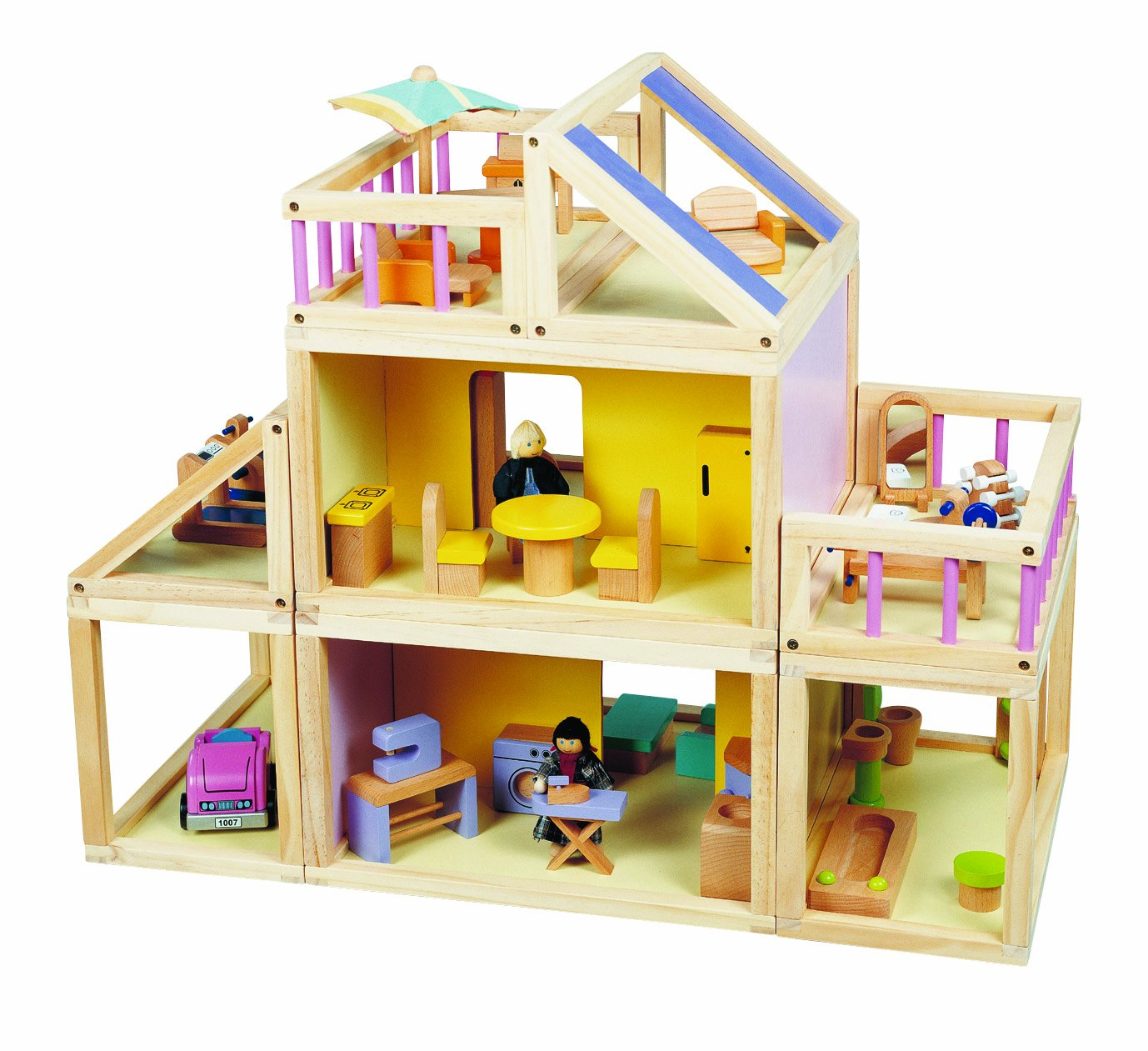 amazoncom maxim designed by you dollhouse furnished wooden modular doll house furniture doll people toys games - Wooden Dollhouses Designs