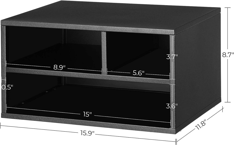 Matte Black UOMC101B01 SONGMICS Steel Printer Stand Multifunctional for Office Studio Printer Rack with Storage Shelves