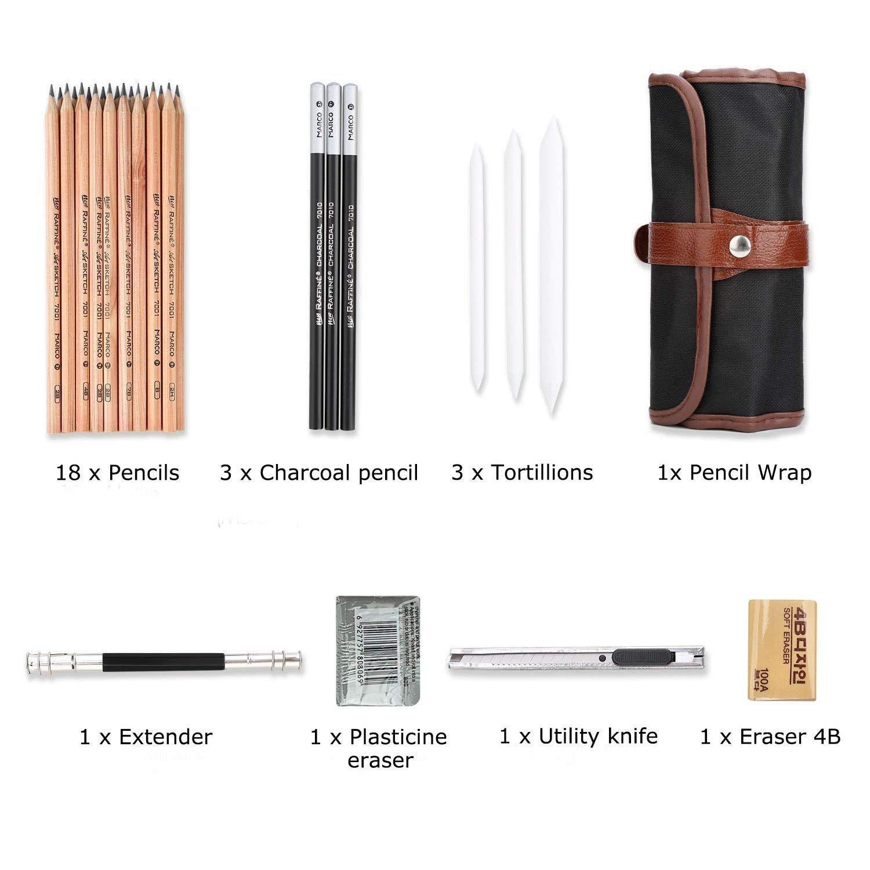 Skizze Bleistift Set,Morkia 18 Stück Skizzen Zeichnung Bleistifte für Skizzieren und Zeichnen mit Kohlestifte,Restehalte ,Reispapierstifte, Cutter, Radierer und Mäppchen Perfekt für Schreiben, Zeichnen und Skizzieren