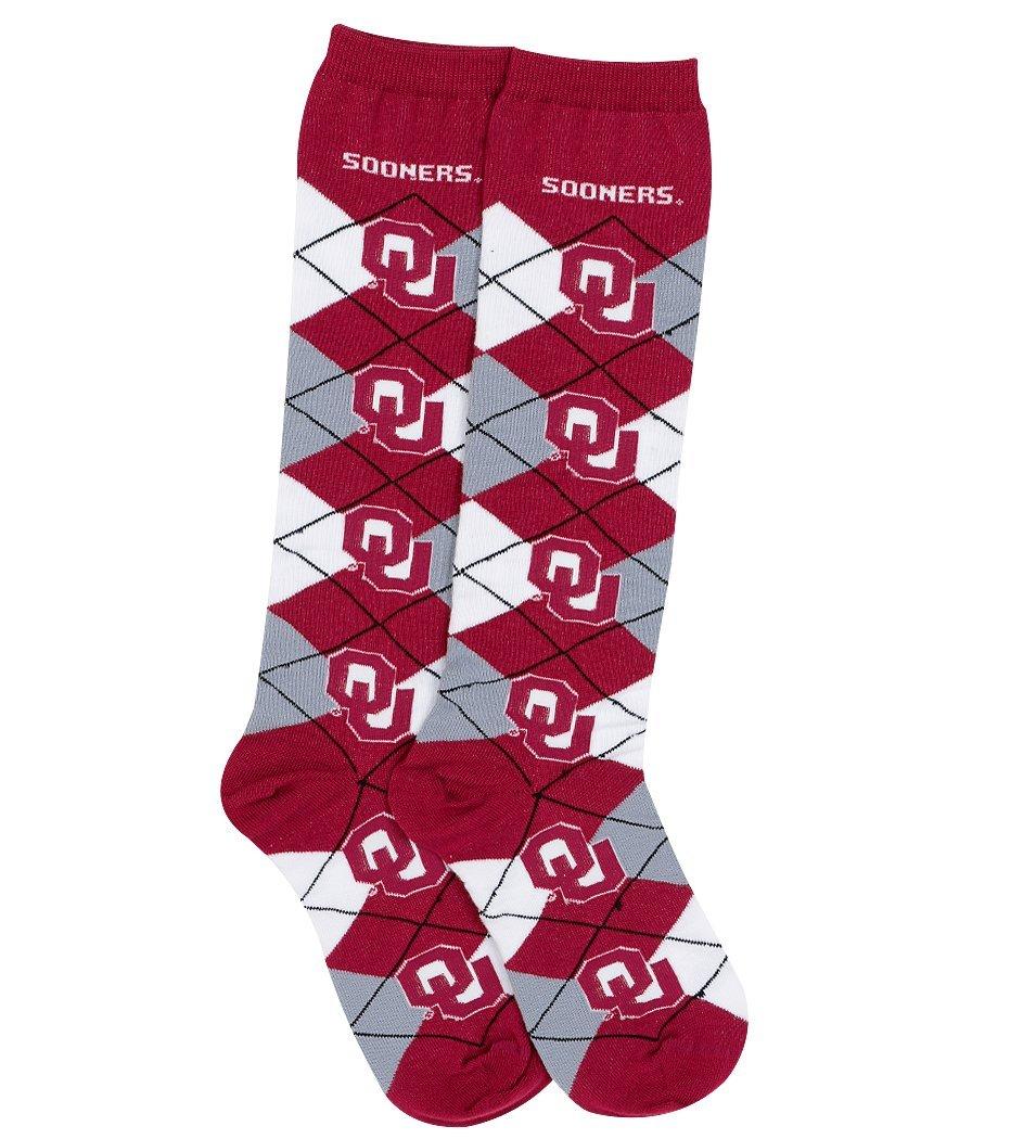 For Bare Feet NCAA Repeat Logo Argyle Knee High Socks-Medium-Oklahoma Sooners