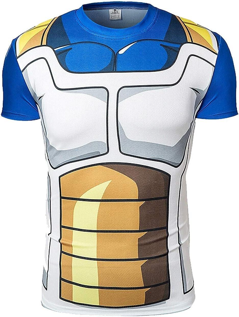 Camiseta compresiva Hombre de Licra para Deporte. Manga Corta ceñida de Licra. (Vegeta)