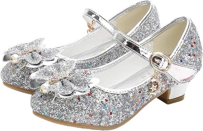 Enfants Bébé Filles Talon Bas Paillettes Noeud Brillant Fête Chaussures Sandales Tailles