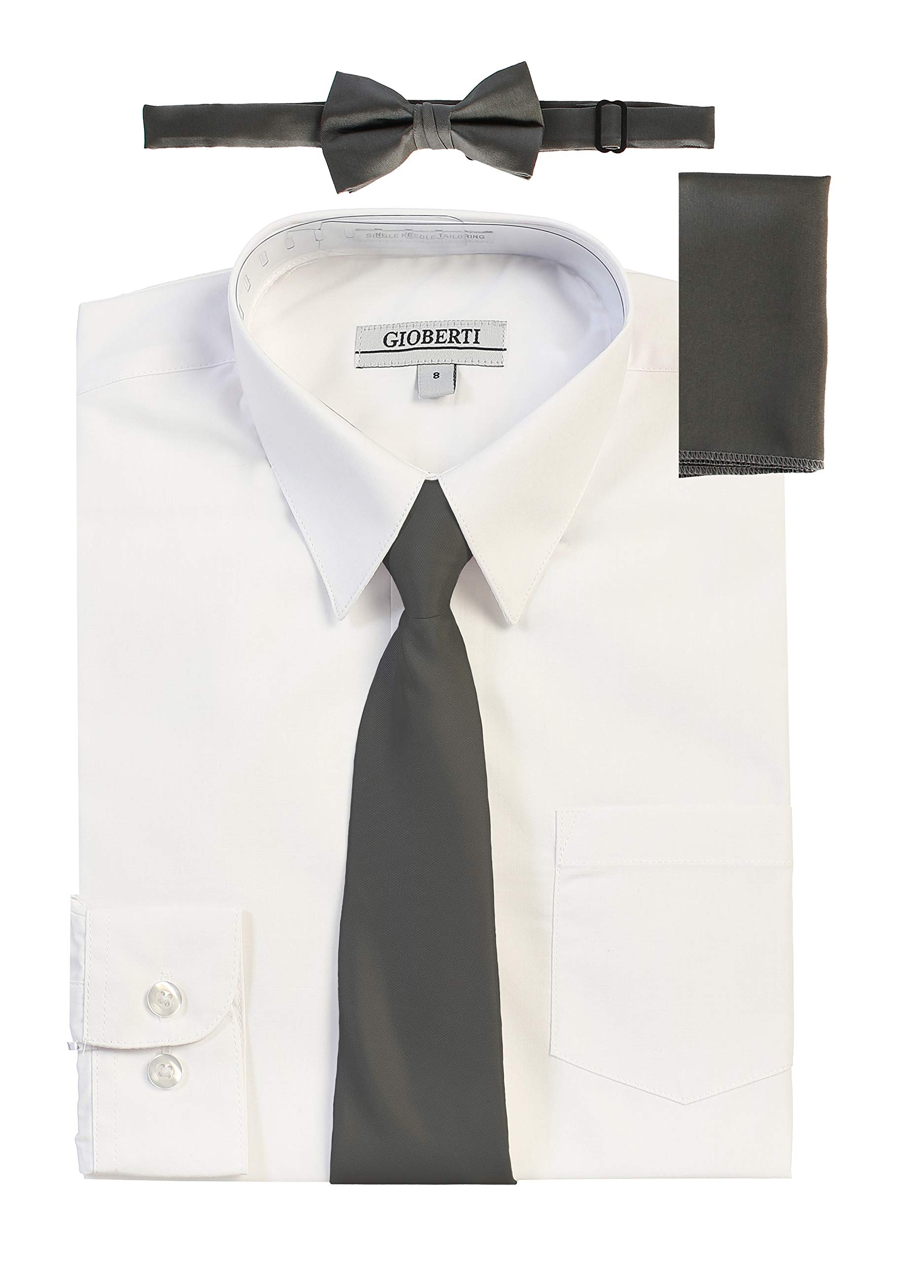 Gioberti Boy's Long Sleeve White Dress Shirt with Dark Gray Zippered Tie, Bow Tie, and Handkerchief Set, Size 8