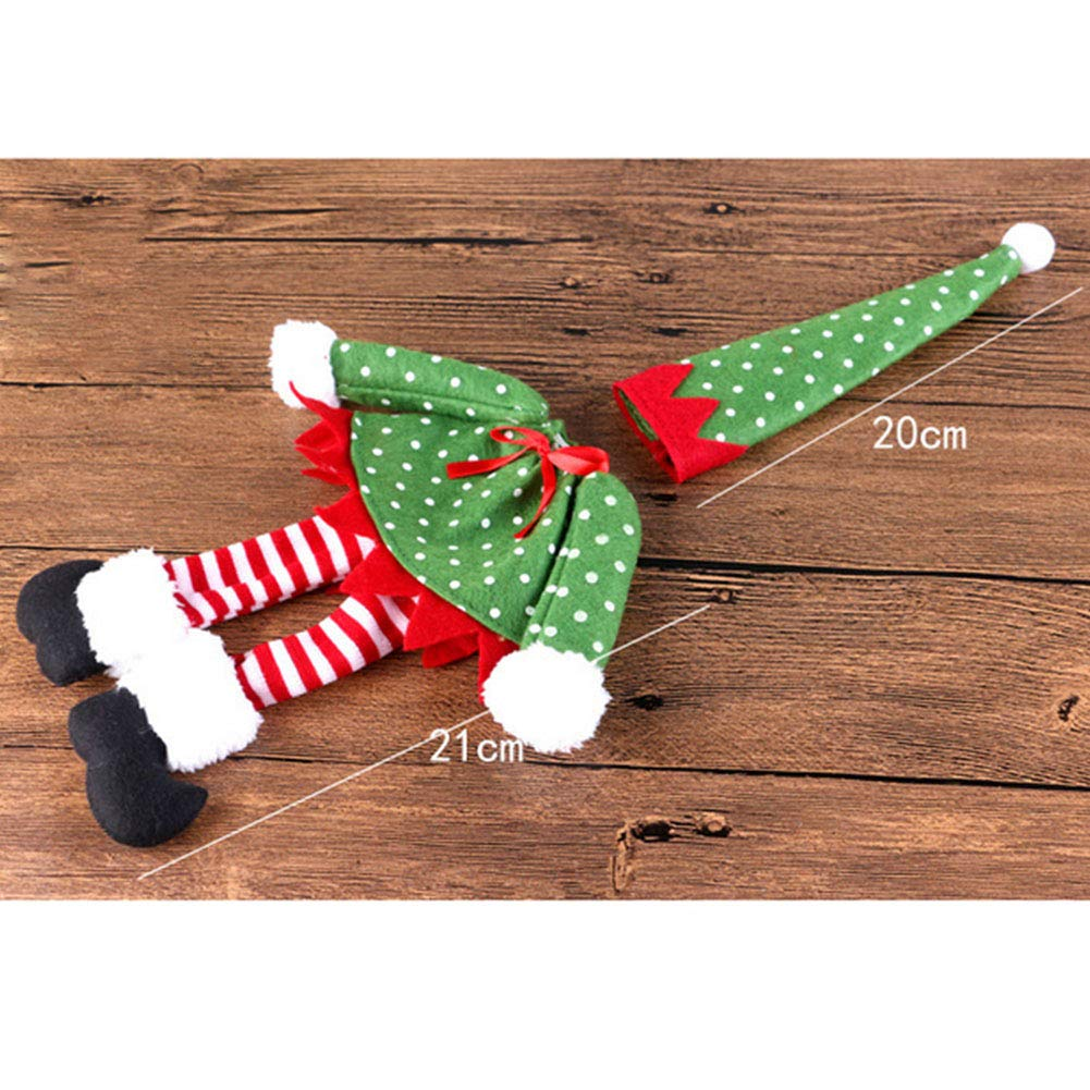 YaptheS Christmas Bottle Covers Set Holiday Wine Bottle Sweater Cover with Hat for Christmas Party Decorations (Elf,Round Dot) Christmas Gift by YaptheS (Image #2)