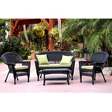 Jeco 4 Piece Wicker Conversation Set with with Green Cushions, Black