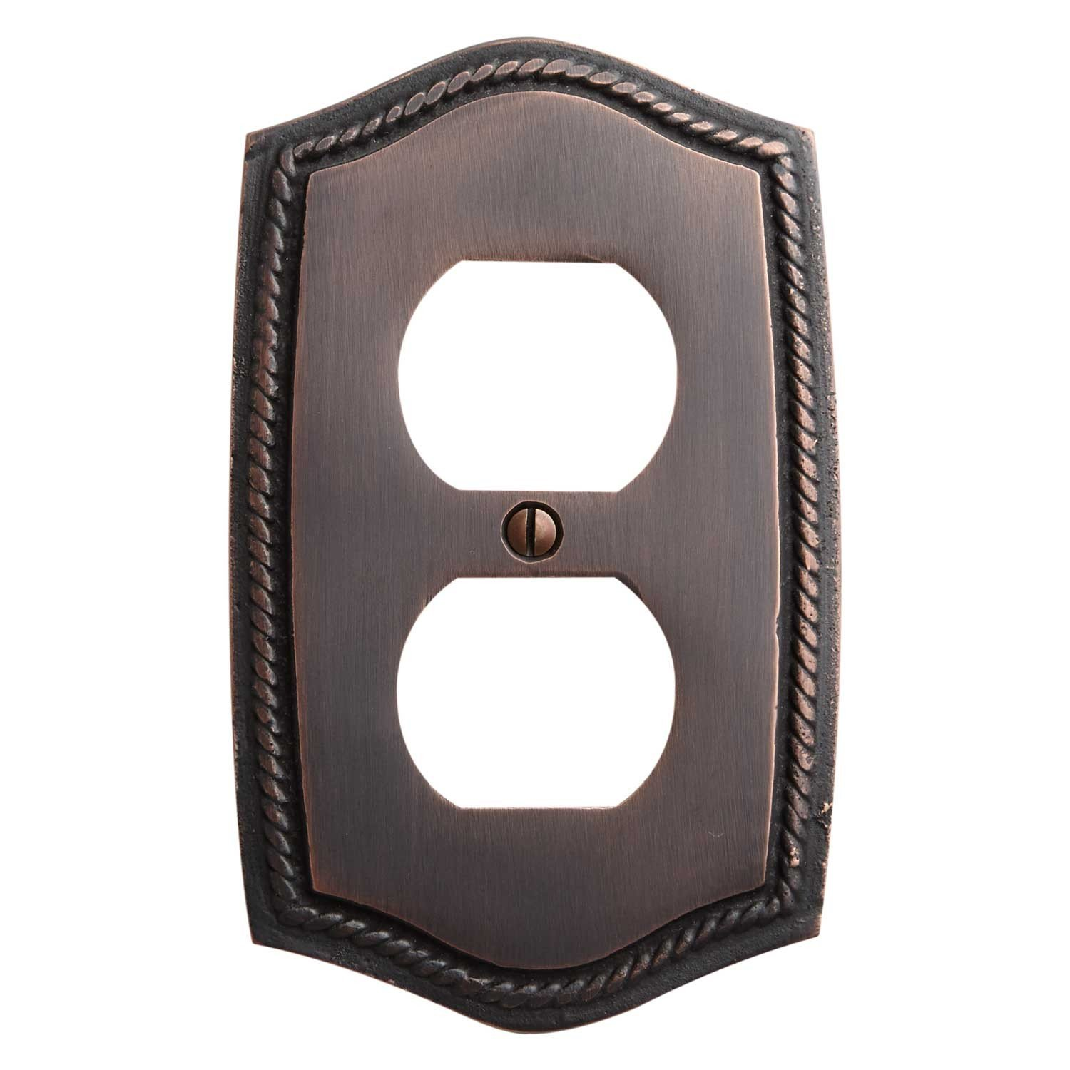 Naiture Georgian Design Solid Brass Single Duplex Outlet Cover, Wall Plate, Switch Plate, Oil Rubbed Bronze Finish