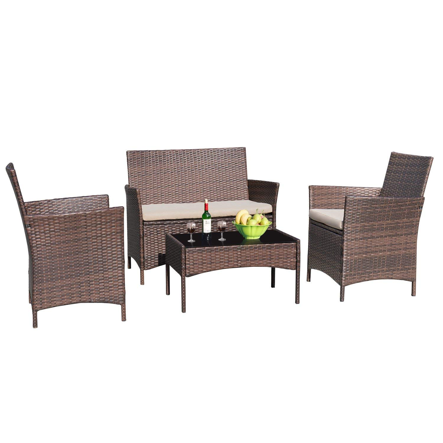 Devoko 4 Pieces Patio Porch Furniture Sets PE Rattan Wicker Chairs Beige Cushion with Table Outdoor Garden Patio Furniture Sets Brown