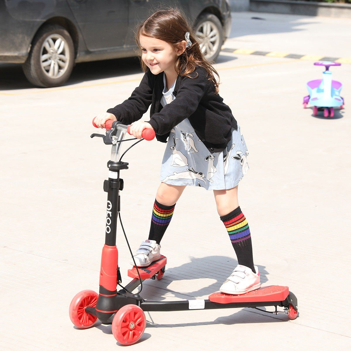 MD Group Kids Scooter Adjustable Height Foldable Red PP & Aluminum with 4 Light up Wheels
