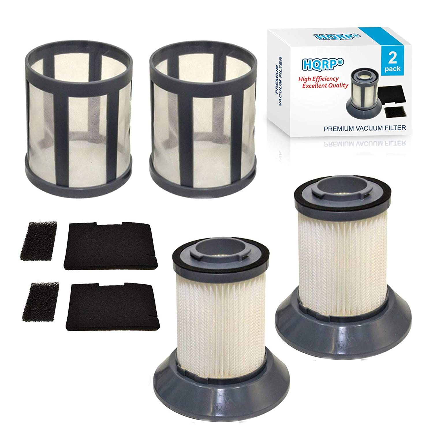HQRP Filter Set 2-Pack for Bissel 203-1535 Post-Motor Filter, 203-1534 Pre-Motor Filter, 203-1533 Dirt Cup Filter Frame Base, Dirt Cup Filter, 203-1531 Filter Screen Vac Vacuum Cleaner + Coaster