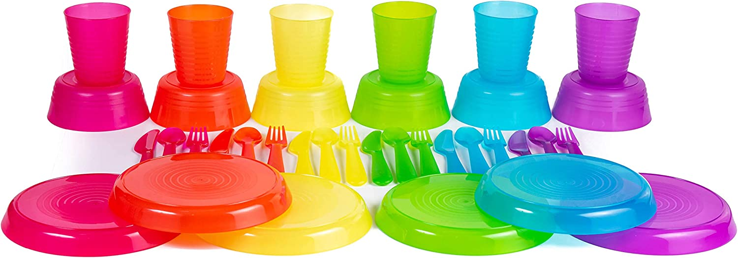 BPA-Free Dishwasher Safe and Microwaveable Cuddly Hippo Kids Plastic Dinnerware Set of 36 Multi Color Pieces Plates, Bowls, Cups and Flatware - Reusable
