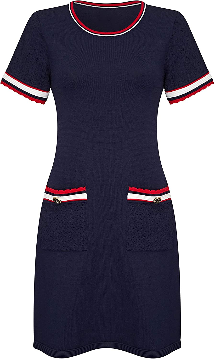 Navy Knit Tunic With Stitch And Button Detail Navy
