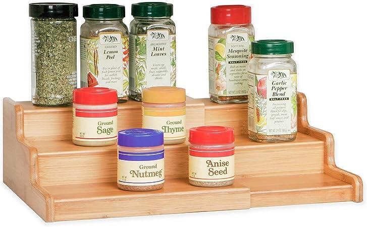 Amazon Com Seville Classics 3 Tier Expandable Bamboo Spice Rack Step Shelf Cabinet Organizer Home Kitchen
