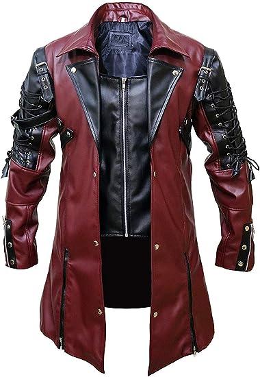 Mens Steampunk Military Trench Coat Long Jacket Black Gothic style jacket