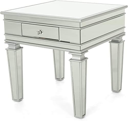Christopher Knight Home Annabelle Modern Mirrored Accent Table with Drawer, Tempered Glass, Silver Firwood Frame