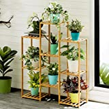 (US in Stock) Bamboo Plant Ladder Stand, 6 Tier Foldable Plant Holder with Hanger Rod, Flower Pots Display Shelf, Modern…