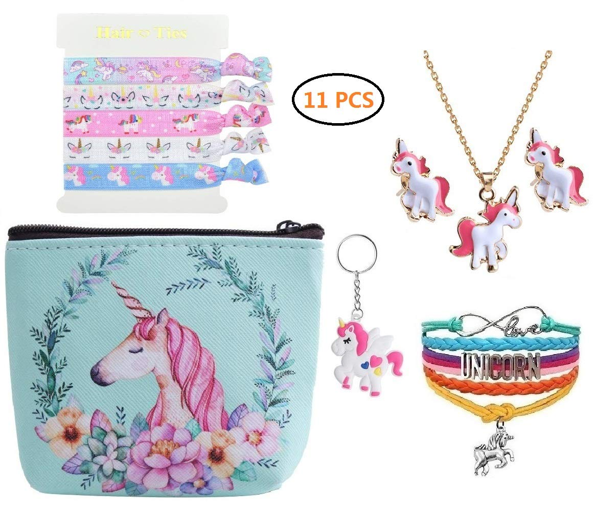 Fanovo Unicorn Gifts Girls - 11 PCS Unicorn Necklace/Bracelet/Earrrings/Mini Bag/Hair Ties /Keychain - Be The Unicorn Princess (A1-11 Pack Unicorn Gifts)