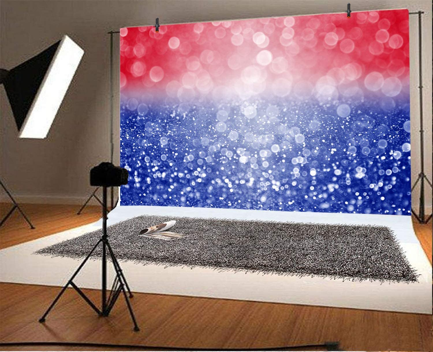 Abstract Glitter USA Flag Backdrop 10x7ft Red White Blue Bokehs Vinyl Photography Background Celebrate Independence Day National Day Memorial Day Studio Photo Prop Event Decor Banner