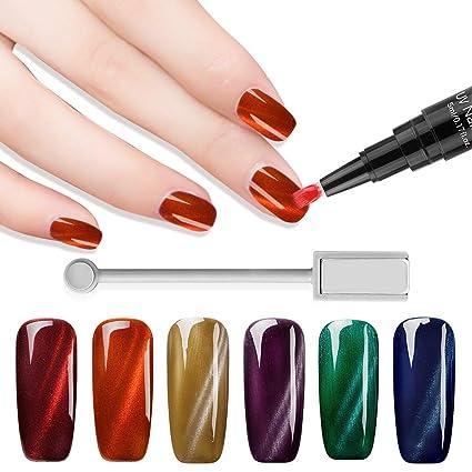 Saviland - Juego de 6 lápices magnéticos de gel para uñas de gato con gel UV