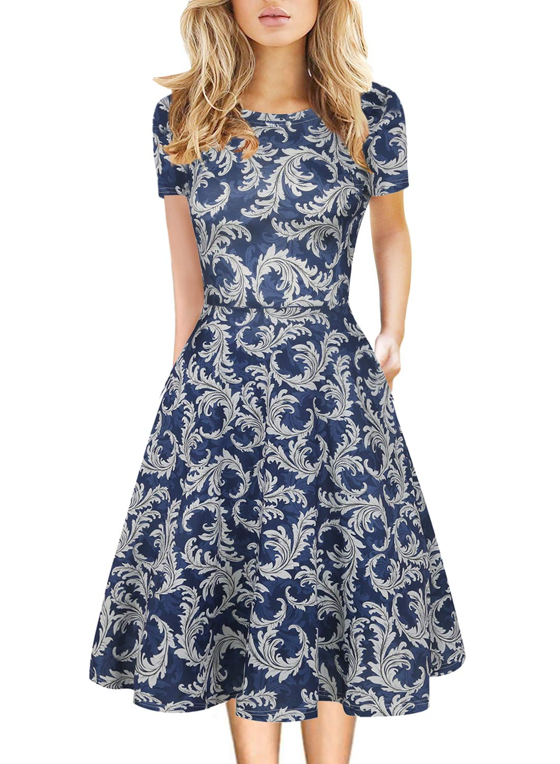 HELYO Floral Midi Dress Wear to Work 3/4 Sleeve Flared Dresses with Pocket Mid Knee Length 1960's Vintage Clothing Plus Size 162 (Blue-White, XXL)