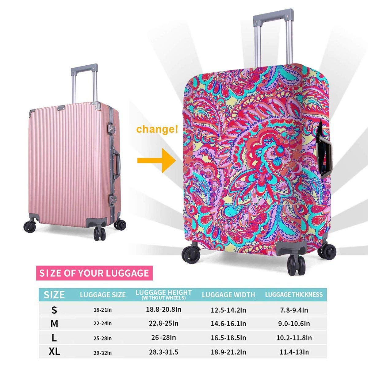 4 Size Primitive Tribal Pattern Printed Business Luggage Protector Travel Baggage Suitcase Cover