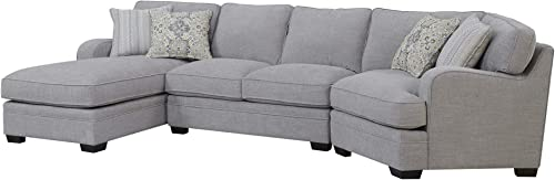 Emerald Home Analiese Linen Gray Chofa Sectional, with Pillows, Track Arms, Welt Seaming, and Block Feet Grey Transitional