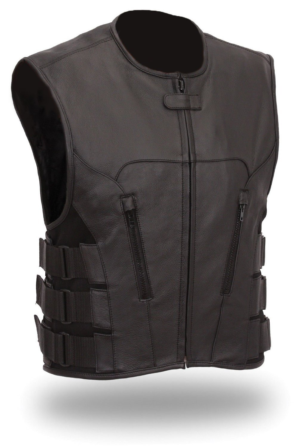 The Nekid Cow Men's Updated SWAT Team Leather Motorcycle Vest Soft Buffalo Leather(Black, Medium) -GUARANTEED - Tactical Outlaw Black Biker Vests for Men - Law Enforcement Style Protective Side Adjustment Soft Leather Bonus 151 page Motorcycle & Restorati by The Nekid Cow