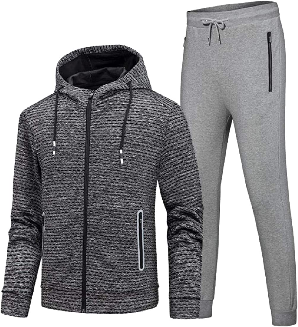 Zimaes-Men Casual Sweatshirts Sport Pants 2pcs