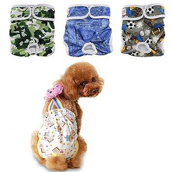 ohbabyka 3pcs reutilizable macho y hembra perro pañales de resistente de perro pañales para mascotas