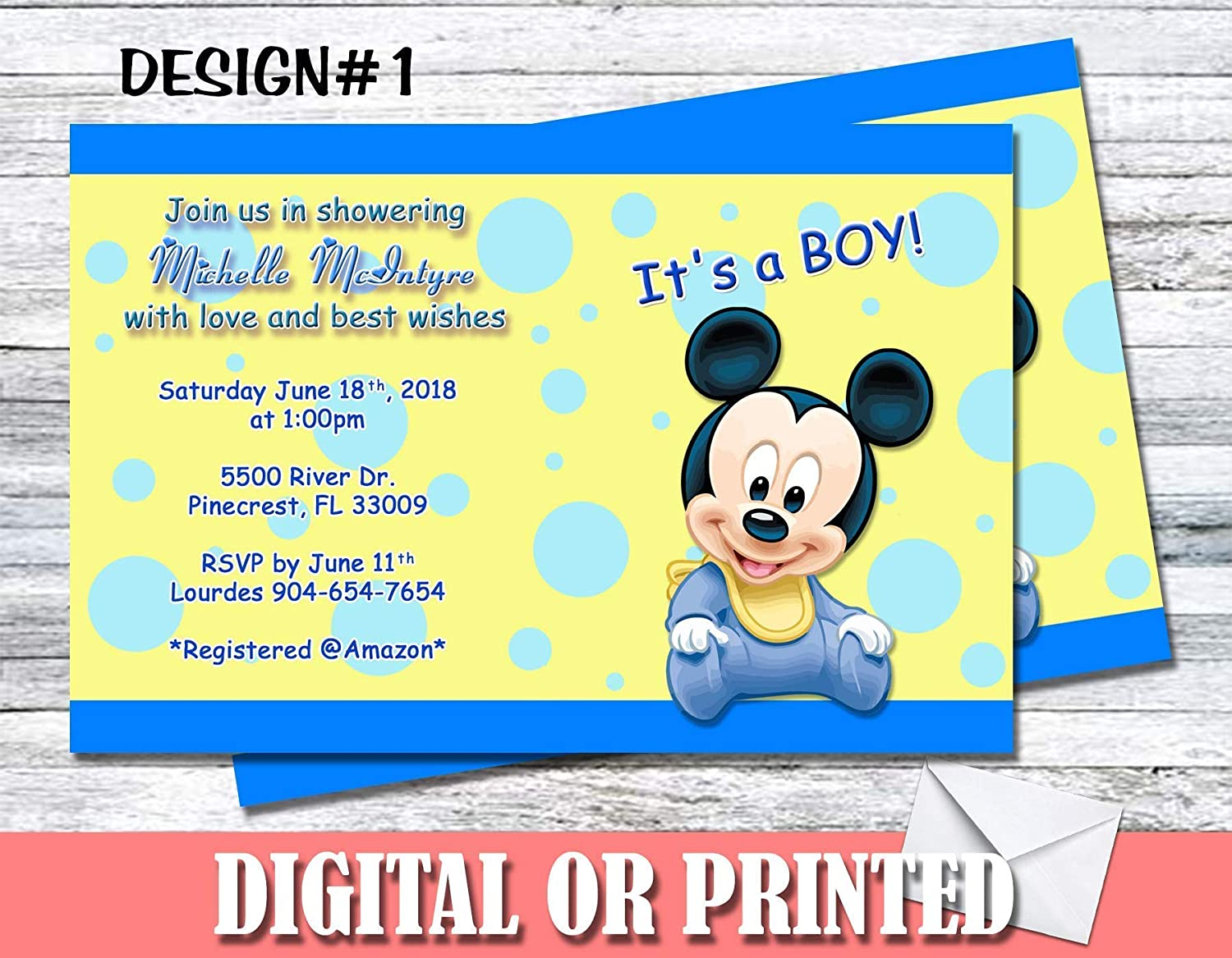 Amazon.com: Mickey Mouse Baby Shower Boy Personalized Invitations More  Designs Inside!: Handmade