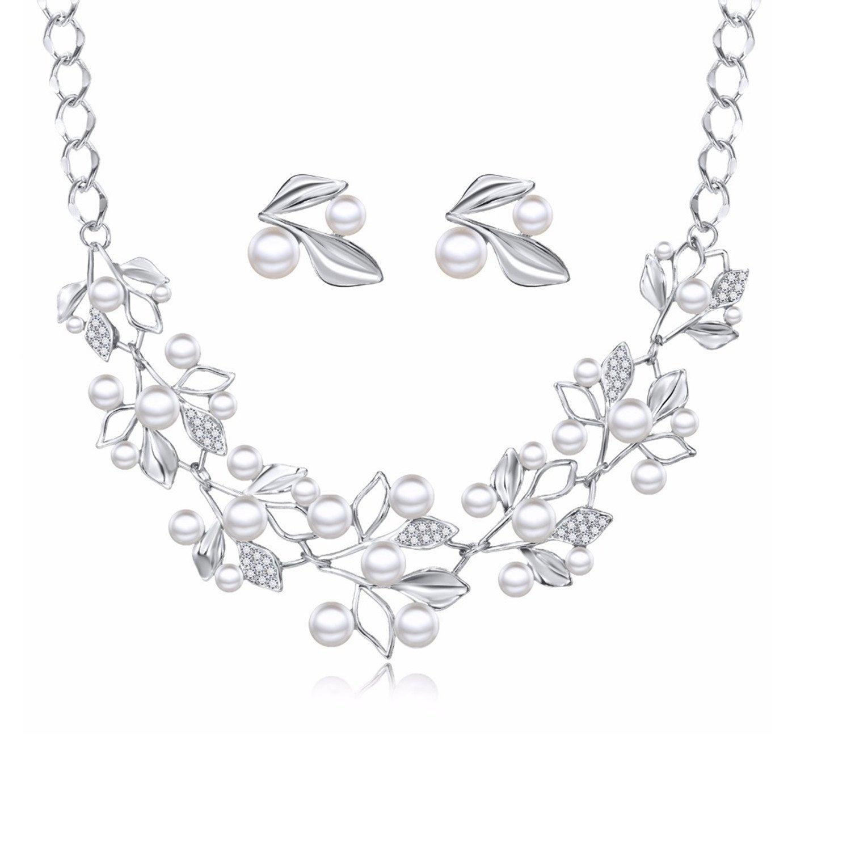 Amazoncom Wedding Necklaces Earrings Set Choker Simulated Pearl