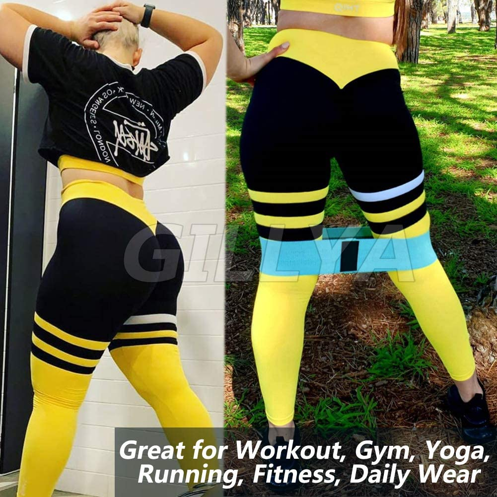 High Waisted Striped Gym Leggings Top Bra Set Fitness Gym Outfits Set GILLYA Yoga Workout Outfits for Women 2 Piece Set