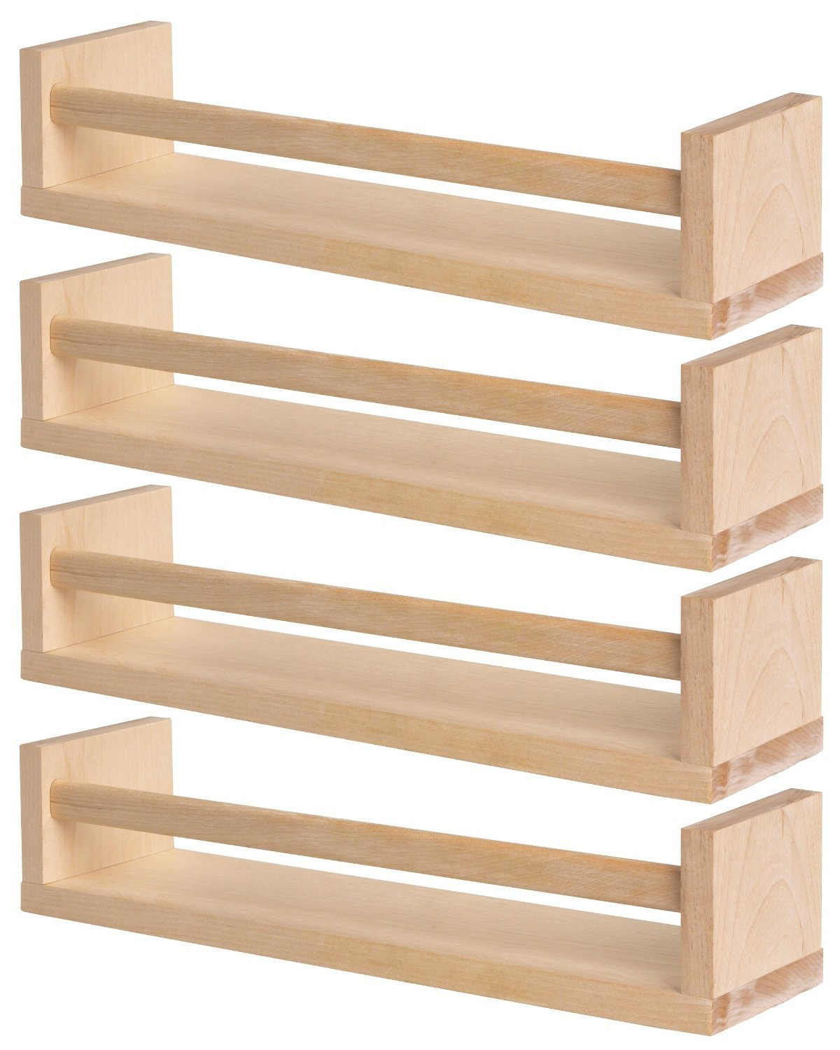 IKEA 4 Wooden Spice Rack - Nursery - Book Holder - Kids Shelf - Kitchen -  Bathroom Accessory - Storage Organizer - Birch Natural Wood - BEKVAM: ...