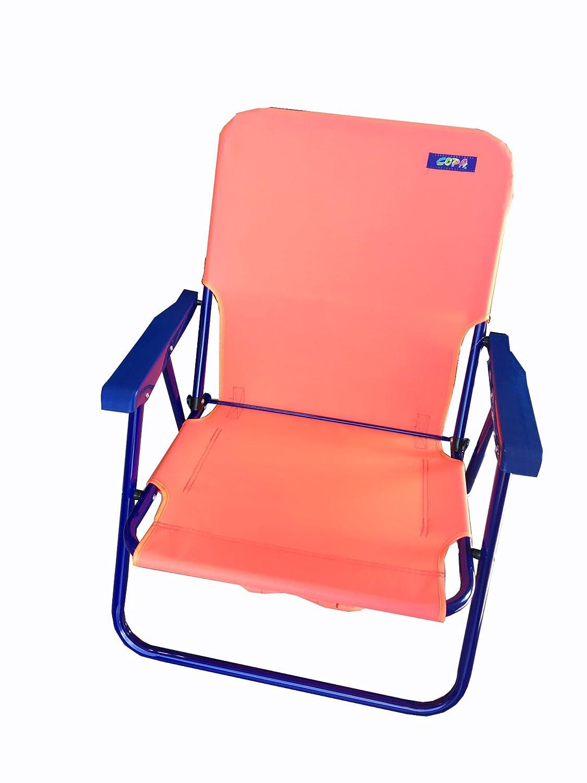 バックパック頑丈なスチールビーチ椅子シート高10」推奨重量制限225lbs by Copa (アソートカラー) B074FK9VJF  レッド