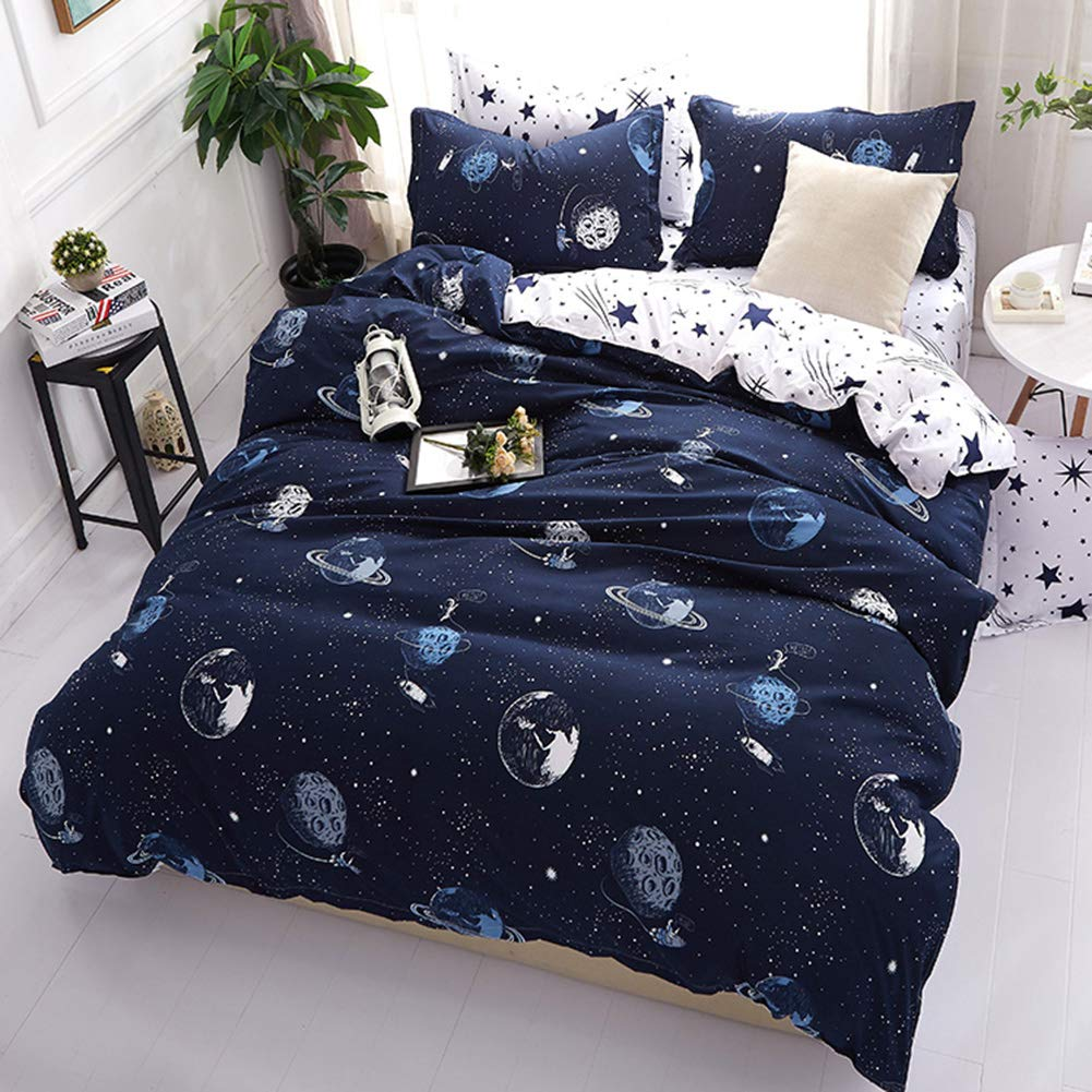 Vefadisa Blue Planet Twin Comforter Sets with 1 Comforter Cover 1 or 2 Pillow Covers 1 Flat Sheet-3 or 4pcs with Pattern Printed Star Wars Duvet Cover Set Zipper Closure Bedding Set for Boys Teen
