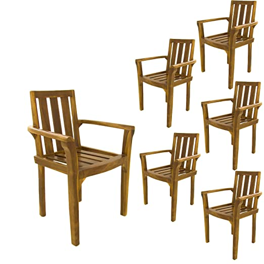 Edenjardi Pack 6 sillones para terraza apilables, Madera Teca Grado A, Tamaño: 61x50x88 cm, Tratamiento al Agua aplicado