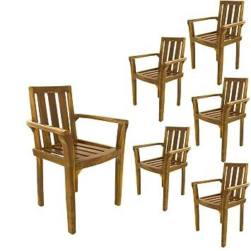 Edenjardi Pack 6 sillones para terraza apilables | Madera Teca Grado A | Tamaño: 61x50x88 cm | Tratamiento al Agua aplicado | Portes Gratis