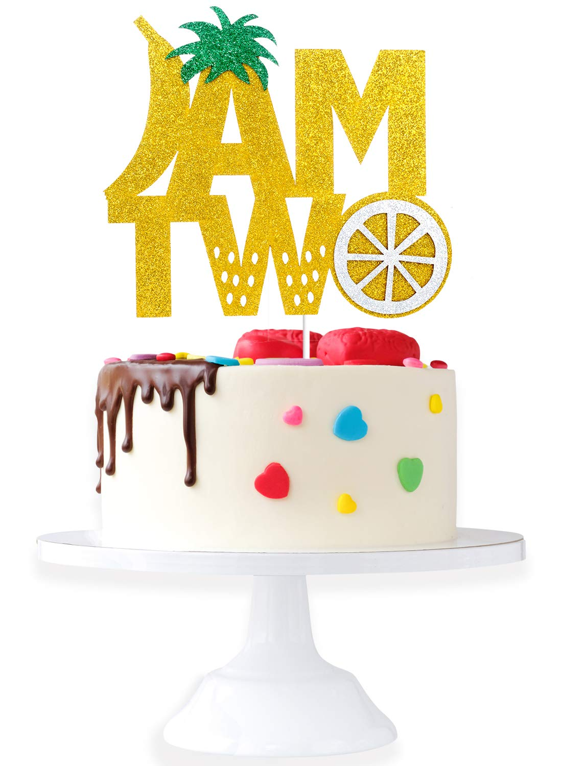 I AM Two Birthday Topper - Twotti Frutti Lemon Strawberry Cake Décor - Happy 2nd Birthday Kids Second Birthday Party - Two Years Old Fruity Tutti Theme Party Derocation