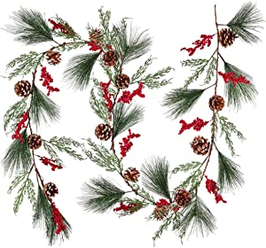 TOUTN Christmas Garland, Flexible Artificial Burgundy Berry Pine Cone Ornaments for Home Fireplace Decoration for Xmas Holiday New Year Decor