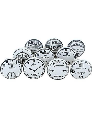 Juego de pomos de cerámica con diseño de reloj, estilo vintage y chic, de