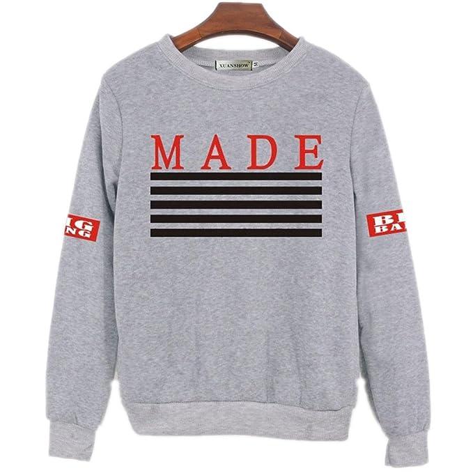 Las mujeres Kpop Bigbang Sudaderas impresas hechas álbum Fleece Jerseys Ventiladores Bts ropa hip hop Otoño Invierno sudadera gris XL: Amazon.es: Ropa y ...