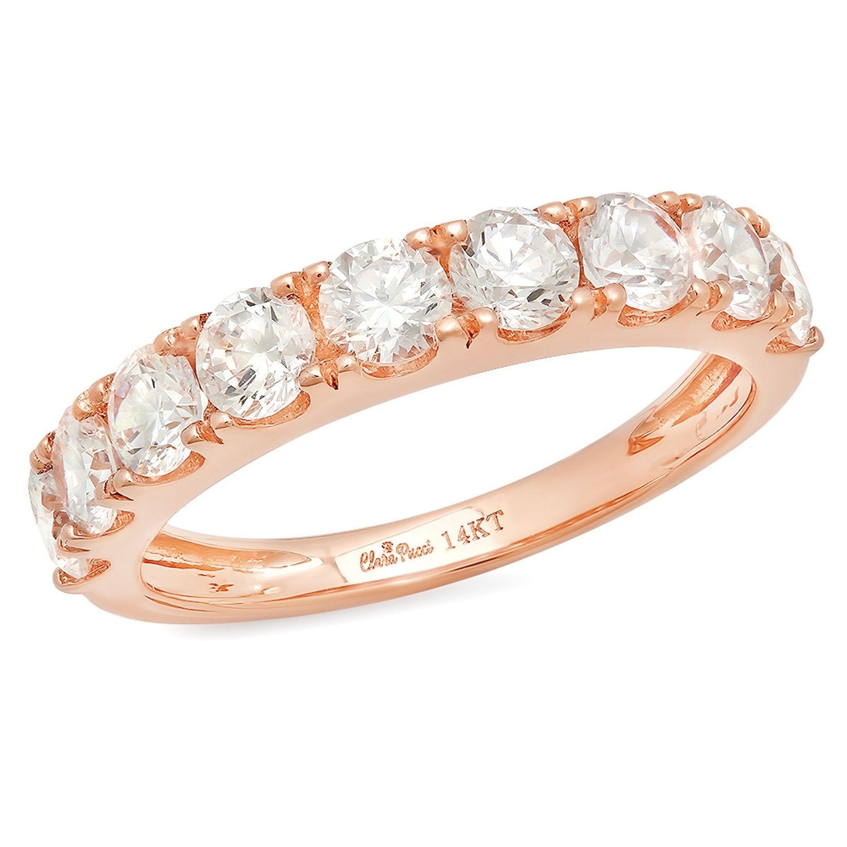 1.7 Ct Round Cut Pave Set Wedding Engagement Band Bridal Anniversary Ring 14Kt Rose Gold, Size 3.75, Clara Pucci
