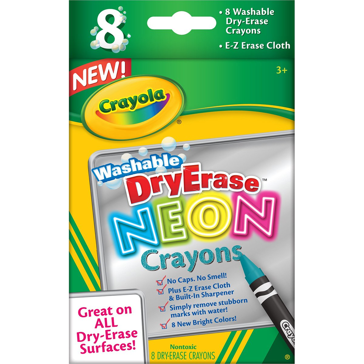 Crayola; Dry-Erase Neon Crayons; Art Tools; 8 Count; Washable; Perfect for Classroom Art Activities; Includes Sharpener and Erase Cloth Binney & Smith 98-8605