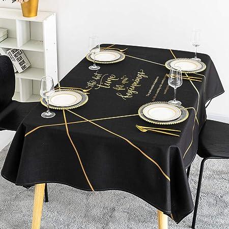 Jasken yyqx container Mantel Oro Negro Simple algodón nórdico Lino ...