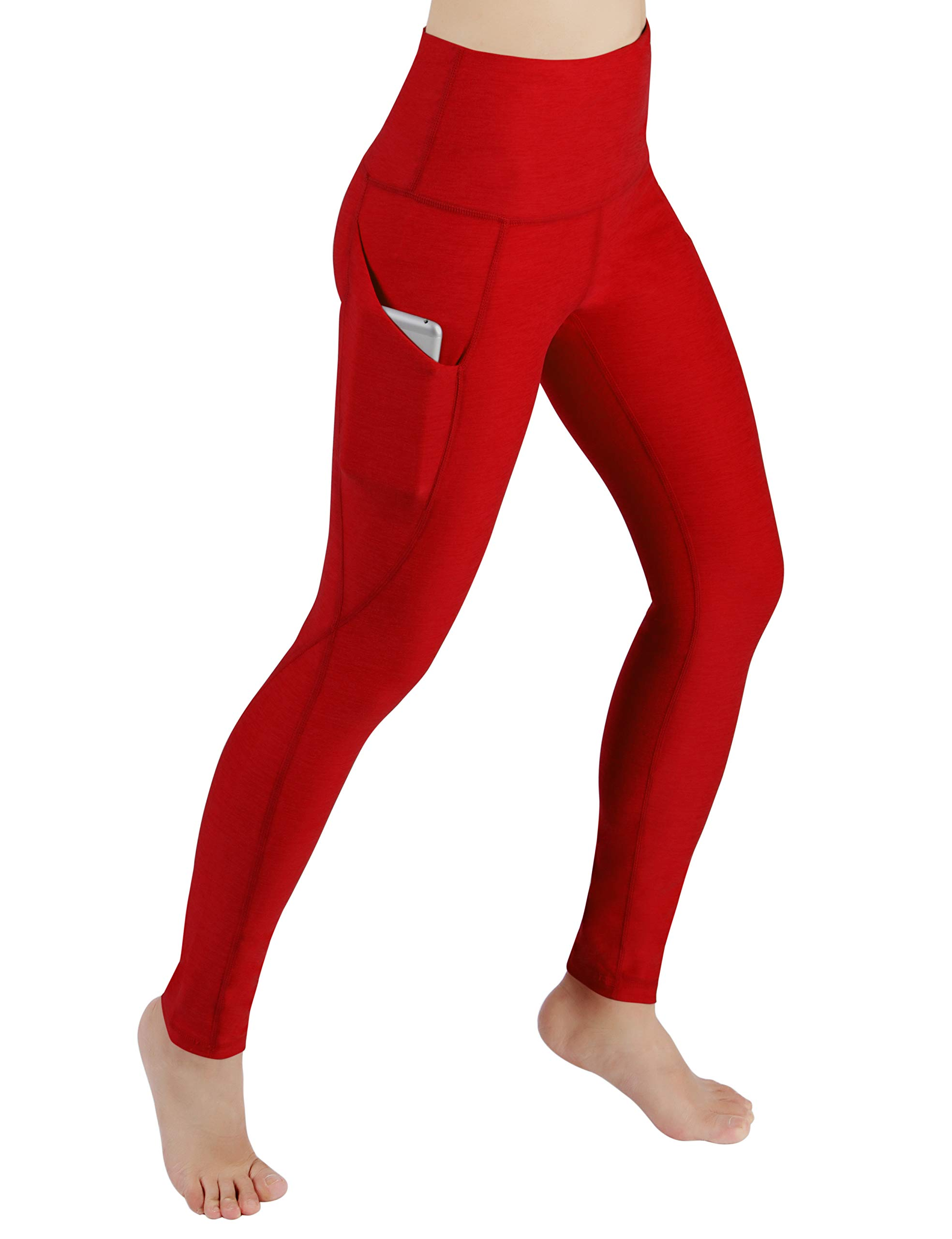 ODODOS Women's High Waist Yoga Pants with Pockets,Tummy Control,Workout Pants Running 4 Way Stretch Yoga Leggings with Pockets,Red,Small by ODODOS